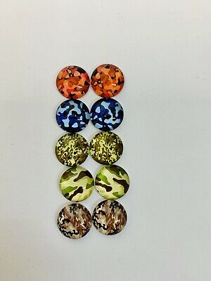 5 Pairs Of 10mm Glass Cabochons #504