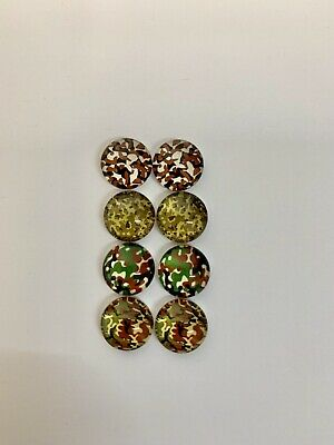 4 Pairs Of 10mm Glass Cabochons #828