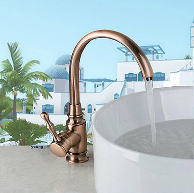 Kitchen Sink Faucet Antique Copper Deck Mount Basin Mixer Tap Single Handle&Hole