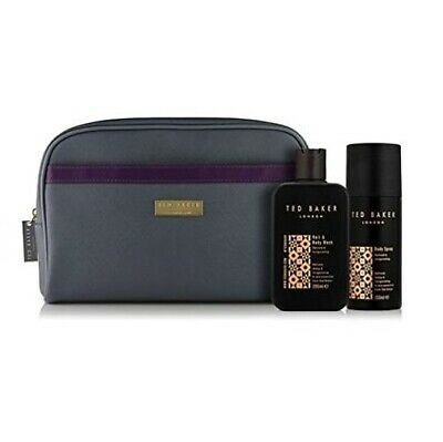 TED BAKER Mens Gift Set Bath & Body Travel Toiletry Bag