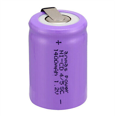 ANMAS POWER Rechargeable Batteries Ni-Cd 4/5 SC 1.2V 1400mAh Cell Battery 4Color