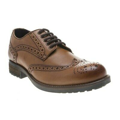New Mens SOLE Tan Angus Brogue Leather Shoes Lace Up