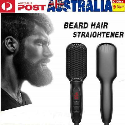 Men Quick Beard Straightener Electric Hair Straightening Brush Ceramic Comb AU