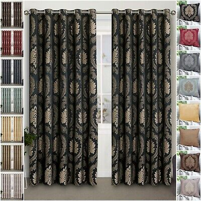 Eyelet Ring Top Ready Made Jacquard Curtains Fully Lined With Free Tiebacks