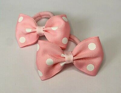 Pair Of Pink Polka Dot Hair bow bobbles/hair Accesories/Girls Accessories
