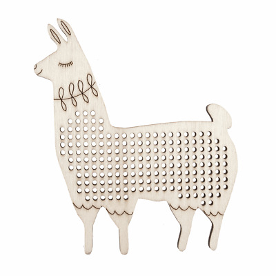 Embroidery Thread Floss holder wooden decoration llama with cross stitch centre