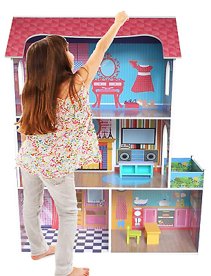 Kiddi Style Wooden Large Supreme Tall Town Doll House with Furniture