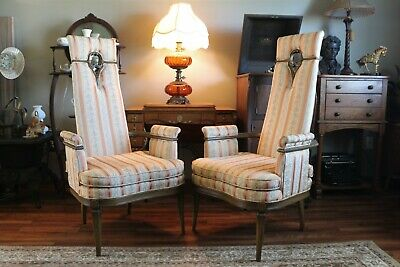 Two Vintage High Back Throne Chairs