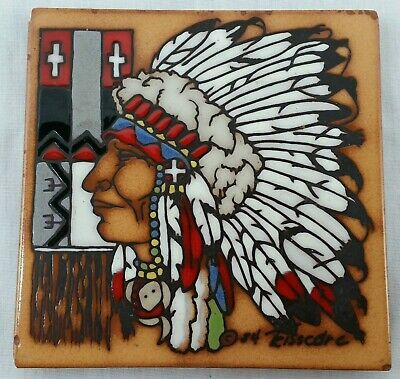 Teissedre Ceramic Tile Native American Chief Hand Painted Southwestern Trivet 6""