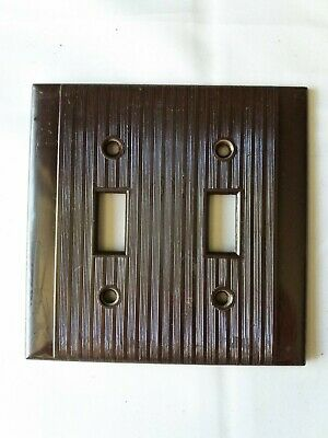 Vintage Bakelite Double Light Switch Plate Ribbed Brown