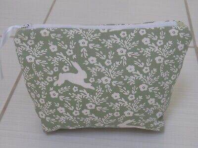 Rabbit/Floral Make-up bag with optional personalised embroidered name