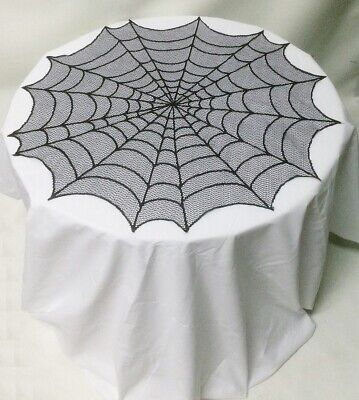 HERITAGE LACE BLACK GOTHIC HALLOWEEN SPIDER AND STARS WEB DOILY #6028