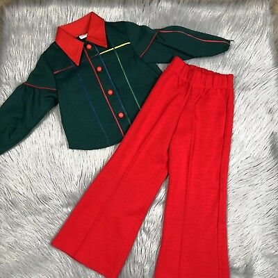 Vintage Sears Toddler Girls Red Green Polyester Shirt Pant Set 1970s Fall Outfit