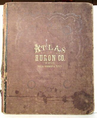 1873 Atlas of Huron County, Ohio, with color maps including foldouts