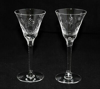 ANTIQUE Set of 2 AMERICAN BRILLIANT CUT GLASS CRYSTAL ABP CORDIALS STAR PATTERN