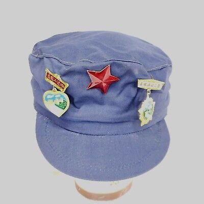 Vintage Communist China Mao Blue Cap Hat With 3 Medals Pins