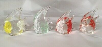 "Set of 4 Angelfish Fish Art Glass Paperweight Figurines 4"" Murano Style"