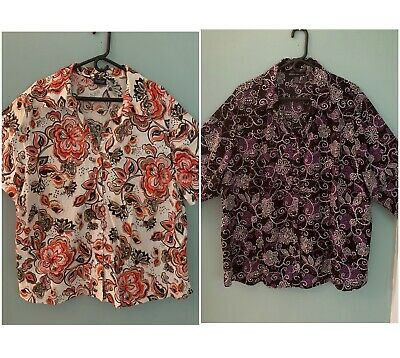 Lot 2 Plus Blouses Sz 3X Gloria Vanderbilt Club Z Floral Button Front Top