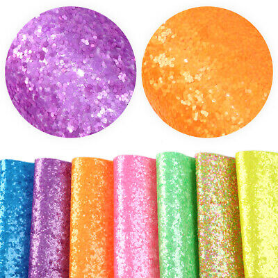 20*34cm Plain Color Chunky Glitter Faux Leather For Making Handmade Crafts
