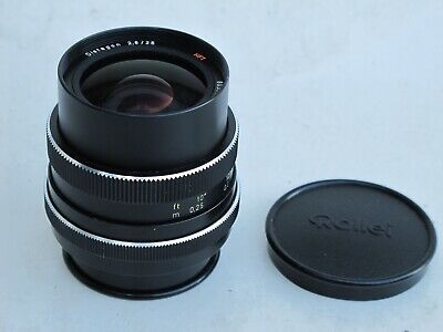 "Rollei SL35 Carl Zeiss 25mm f:2.8 HFT Distagon lens with caps near MINT ""LQQK"""