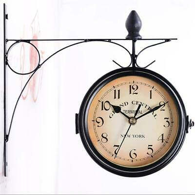 Outdoor Garden Paddington Station Wall Clock Double Sided Outside Bracket Retro