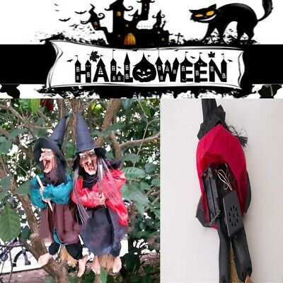 """12"""" Halloween Hanging Animated Talking Witch Props Laughing Sound Control Decorl"""