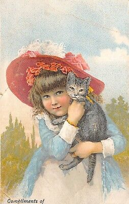 Cat Kitten Girl Red Hat Victorian Trade Card Compliments