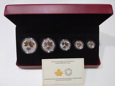 2016 Canadian Silver Maple Leaf Fractional Coin Set A Historic Reign Gold Gilded