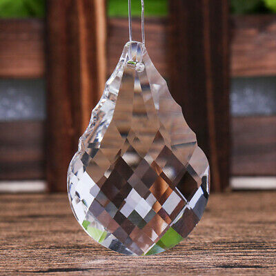 Chandelier Clear Glass Crystal Faceted Twill Lamp Prism Hanging Drop Pendant US