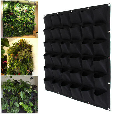 36 Pocket Vertical Greening Hanging Wall Garden Plant Bags Wall Planter 5Pack