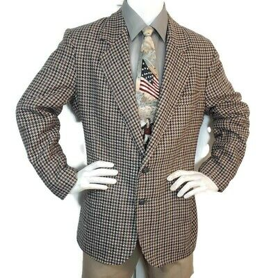 VINTAGE Tampowear Sz 44 Gray Wool Houndstooth Mens Jacket Sport Coat Blazer USA
