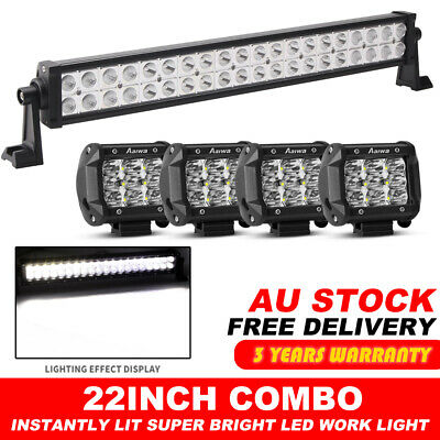 "22inch 200W CREE LED Light Bar Combo Offroad 4WD 4x4 Truck SUV +4X 4"" Pods Spot"