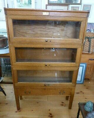 Antique Oak 3 Stack  Ogden Sexion Record Cabinet Stacking Bookcase