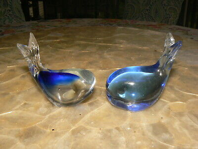 Vtg (2) Whales Glass Paperweight  Art Glass Gorgeous Blue Nautical Beach Cottage