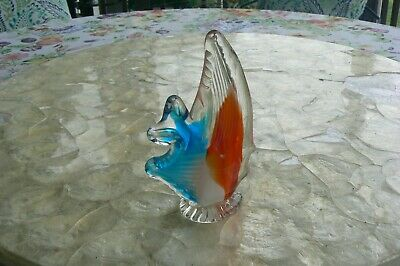 Vintage Blown Art Glass Fish Paperweight Gorgeous Blue Red Orange Nautical Beach