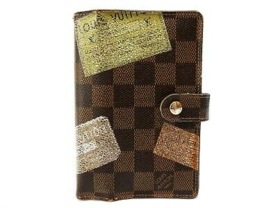 Authentic Louis Vuitton Damier Ebene Label Agenda PM Notebook cover R21069 LV