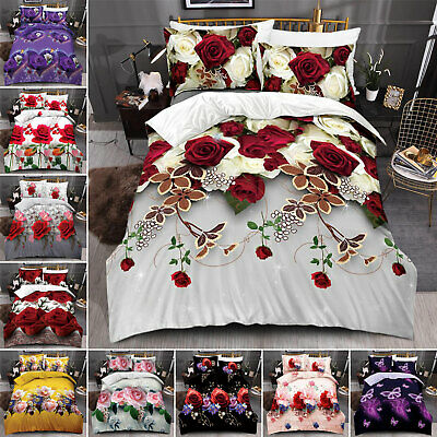 3D Effect Bedding Set Duvet Cover Pillow Cases & Fitted Sheet Single Double King