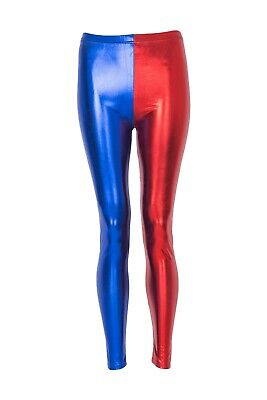 Ladies Women Metallic Harley Quinn Suicide Squad Disco Halloween Shiny leggings
