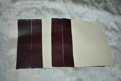 scrap leather Cowhide  Creamy White or a Buff color 4x4 inches  6 pieces NEW