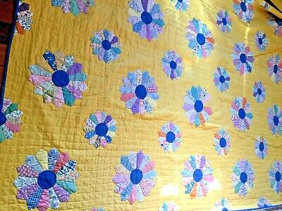 Antique  Handmade Quilt in the beautiful yellow  background with pinwheel