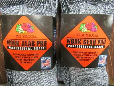 Fruit of the Loom WORK GEAR PRO Crew Socks w Arch Support FOUR Pair Size 6-12