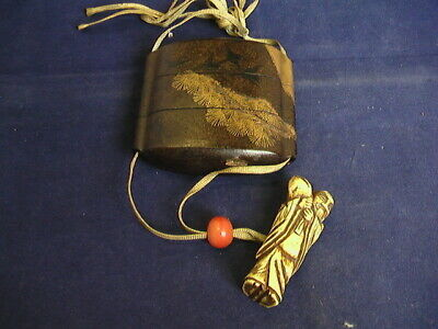 Japanese antique Makie Wooden Lacquer Inro vintage netsuke