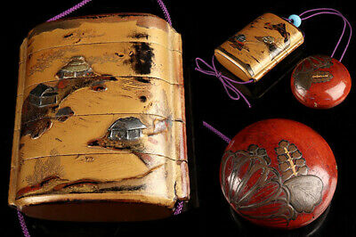 old style Inro Japanese Makie Wooden Lacquer antique vintage netsuke
