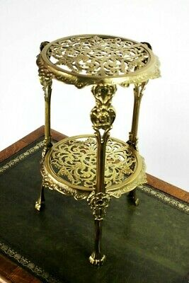 Vintage 2-Tier Cast Brass Plant Stand - FREE Shipping [5524]