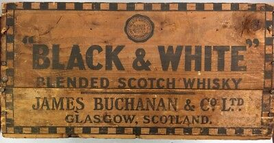 RARE SAN FRANCISCO NICE BLACK & WHITE Scotch Whisky Wooden Shipping Crate Box