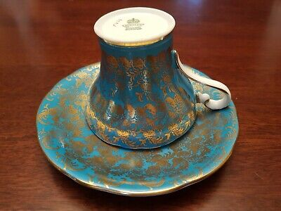 Aynsley Corset Gold and Blue Teacup and Saucer