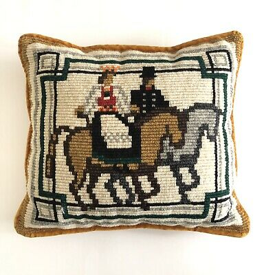 Vintage Needle Point Pillow Celtic Horse Man And Woman Mustard Velvet
