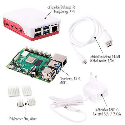 Raspberry Pi 4 Computer Modell B, 4GB RAM Light Starter Kit, weiß Bundle