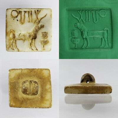 Near Eastern Indus Valley Unicorn Stone Seal Stamp with Symbols #195