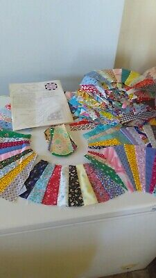 Vintage Lot 69 Fan Quilt Pieces Multi Colors 4x12 Inch CLEAN ! Free Shipping !